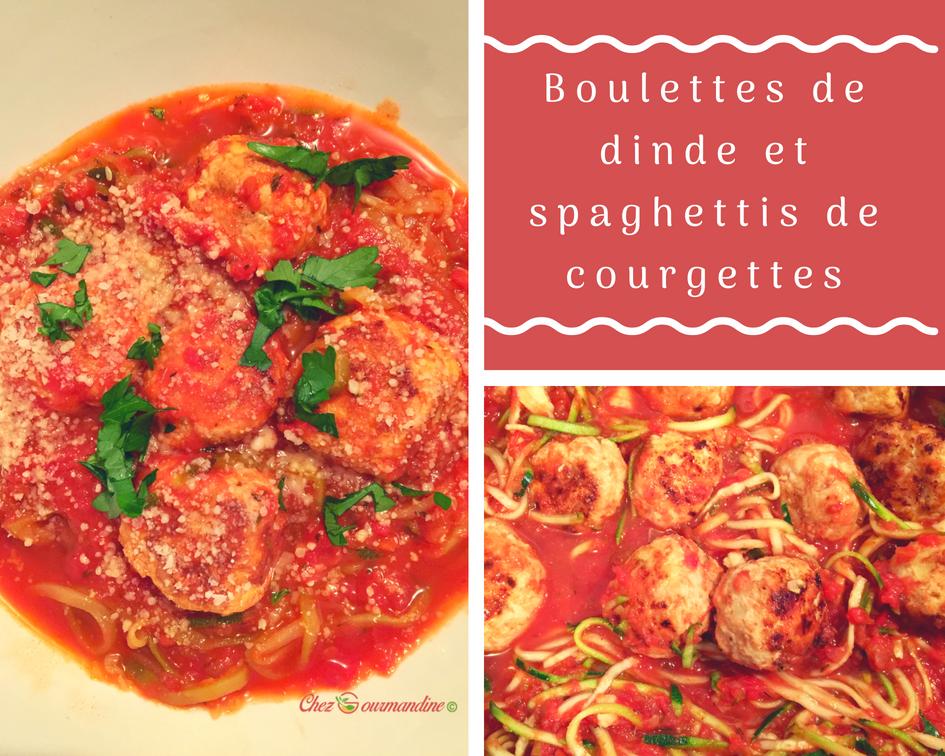 Boulettes de dinde et spaghettis de courgettes