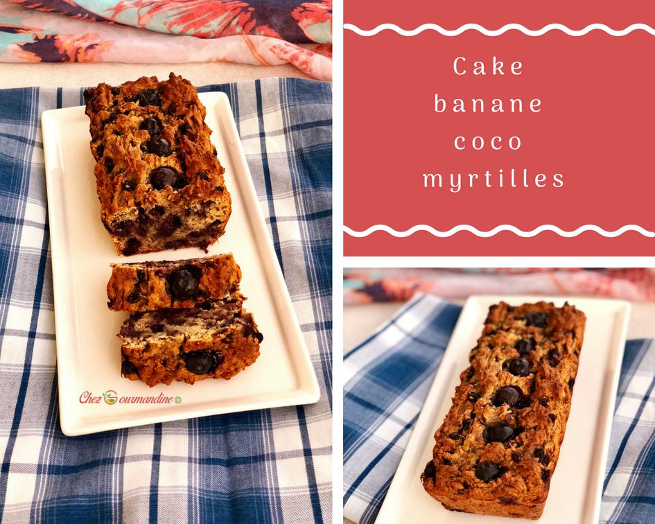 Cake banane coco myrtilles