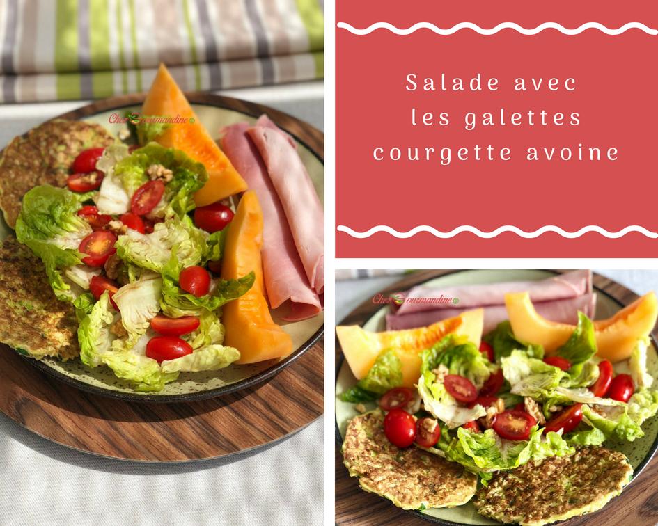 Salade avec galettes courgette avoine